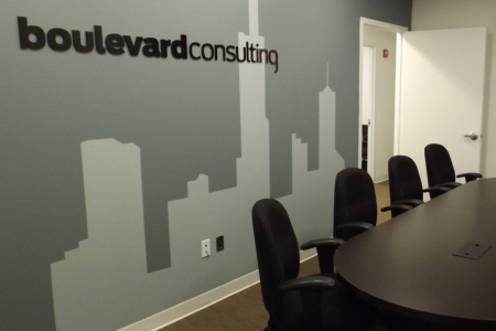Custom Wall Graphic With Dimensional Acrylic Logo for The Boulevard Consulting Group, LLC