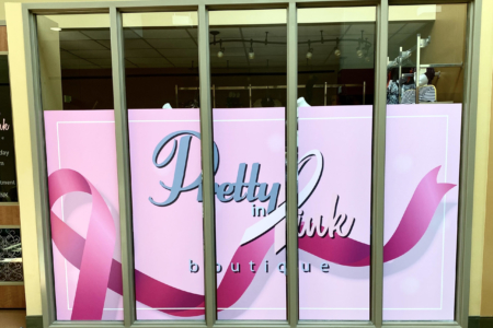 Window Graphics for Pretty in Pink Boutique in Nashville, TN printed and installed by 12-Point SignWorks