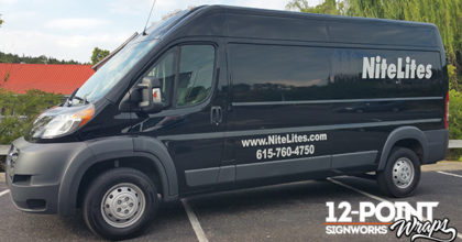 The newly branded Dodge ProMaster Cargo Van for NiteLites of Nashville TN. 12-Point SignWorks - Franklin TN