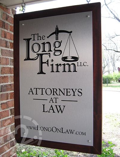 A custom hanging sign for The Long Firm. 12-Point SignWorks - Franklin TN