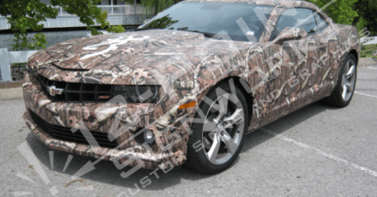 Custom Mossy Oak camo wrap on a Camaro. 12-Point SignWorks - Franklin TN