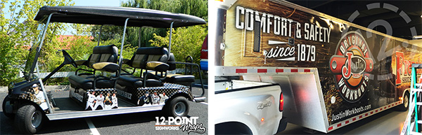 Custom golf cart wrap and custom trailer wrap combo picture. 12-Point SignWorks - Franklin TN