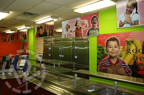 Full color hanging signs for a school cafeteria. 12-Point SignWorks - Franklin TN