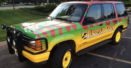 The completely wrapped Jurassic Park Ford Explorer. 12-Point SignWorks