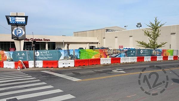 Custom mesh banners for a Nashville construction site. 12-Point SignWorks - Franklin TN