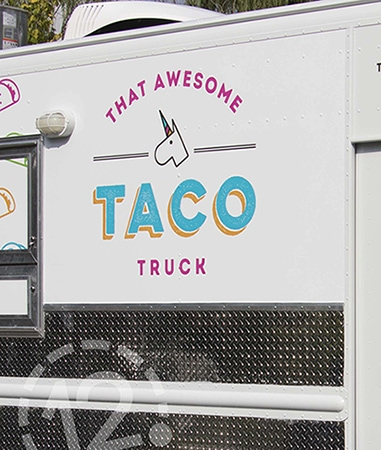 That Awesome Taco Truck advertising wrap installed by 12-Point SignWorks. Franklin, TN