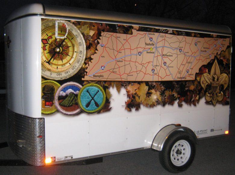 Custom vinyl trailer wrap design for Boy Scout Troop 86. 12-Point SignWorks - Franklin TN