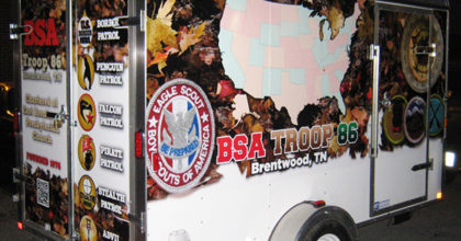 Vinyl trailer wrap design for Boy Scout Troop 86 trailer in Brentwood TN. 12-Point SignWorks - Franklin TN