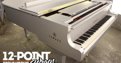 Yamaha piano witch a custom matte wrap for the Alicia Keys performance at the Super Bowl. 12-Point SignWorks - Franklin TN