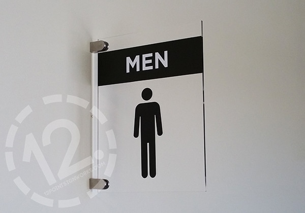 Projecting bathroom signage. 12-Point SignWorks - Franklin, TN
