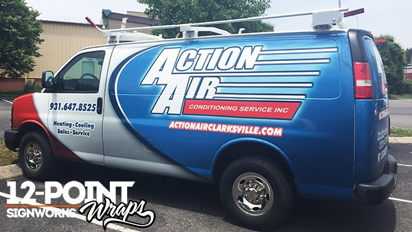 Full coverage advertising wrap for Action Air Conditioning Service in Clarksville. 12-Point SignWorks - Franklin, TN