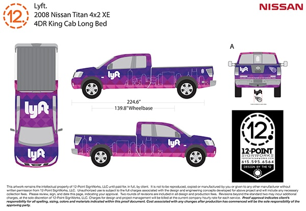 The final proof for the Nissan Titan full coverage custom advertising wrap. 12-Point SignWorks - Franklin, TN
