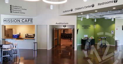 Directional wall graphics for Harpeth Christian Church in Franklin, TN. 12-Point SignWorks