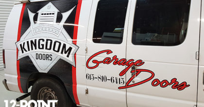 Advertising graphics for the Kingdom Doors service van. 12-Point SignWorks - Franklin, TN