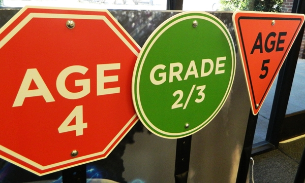Traffic floor signs for children's classes. 12-Point SignWorks - Franklin, TN
