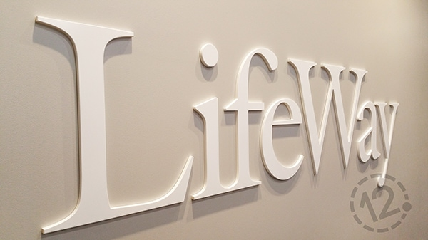 LifeWay's logo sign was created with individual acrylic letters to give it a dimensional effect. 12-Point SignWorks - Franklin, TN