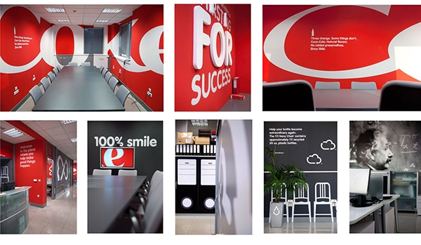 Coca-Cola used their logo, bold colors and fonts to inspire their employees in Belgrade. 12-Point SignWorks - Franklin, TN