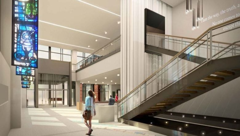 This image shows the main lobby of the LifeWay headquarters building in Nashville, TN. 12-Point SignWorks - Franklin, TN