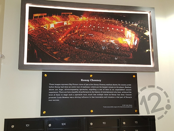 Kenny Chesney's massive audience during a stadium concert is explained in the custom sign below it. 12-Point SignWorks - Franklin, TN