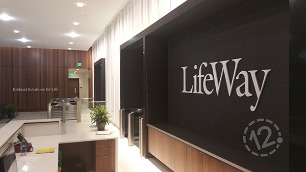 A LifeWay logo sign was also installed on a fabric-covered wall on the conference level. 12-Point SignWorks - Franklin, TN