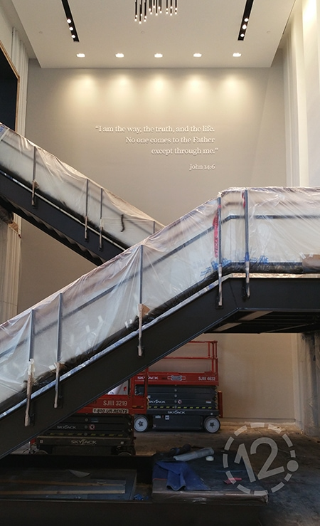 We installed this verse above the floating staircase in the main lobby. 12-Point SignWorks - Franklin, TN