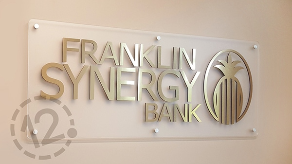 This beautiful sign was also made with brushed gold Rowmark and black acrylic. 12-Point SignWorks - Franklin, TN