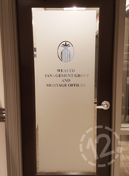 Etched glass vinyl is an excellent way to add branding to your glass doors! 12-Point SignWorks - Franklin, TN