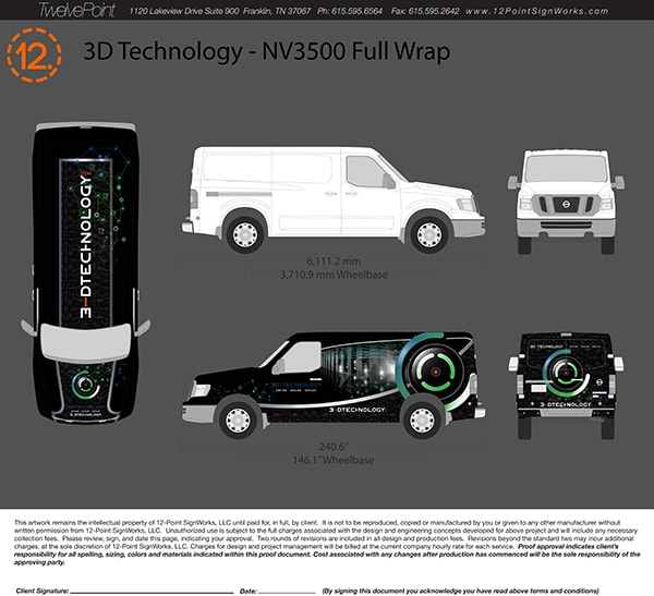 Our designer created this proof for 3-D Technology's new custom van wrap. 12-Point SignWorks - Franklin, TN