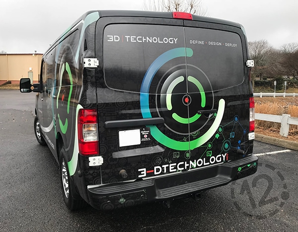 The perforated vinyl on the rear and side windows really gives this van wrap a cohesive look. 12-Point SignWorks - Franklin, TN