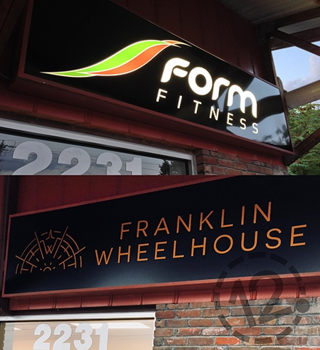 We replaced the old Form Fitness sign with the new elegant Franklin Wheelhouse sign. 12-Point SignWorks - Franklin, TN