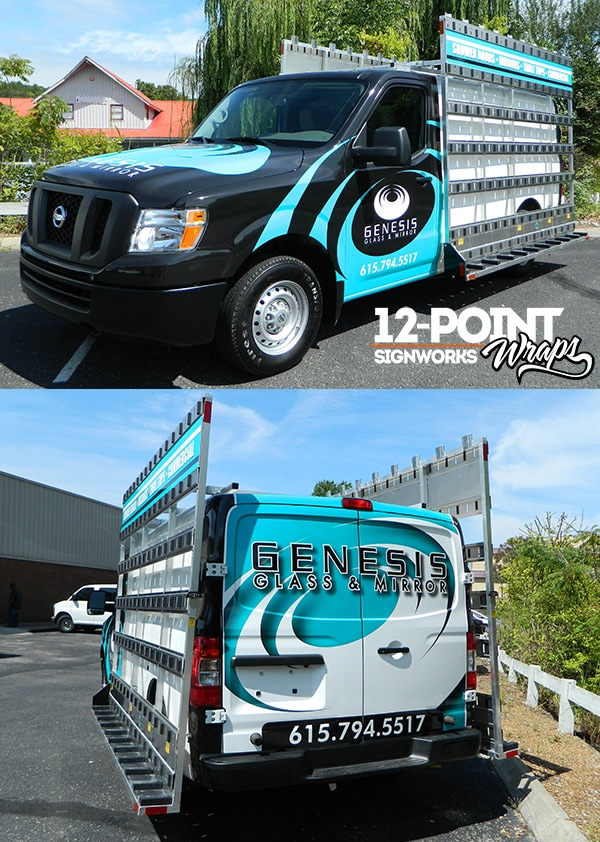 This van is one of many vehicles we have wrapped for Genesis Glass & Mirror. 12-Point SignWorks - Franklin, TN