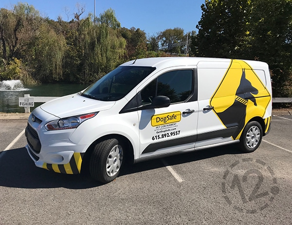 This partial wrap, created for Dog Safe, was designed to look great with the original white factory paint color. 12-Point SignWorks - Franklin, TN