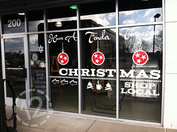 We love this festive window display we installed for Embers back in 2015! 12-Point SignWorks - Franklin, TN