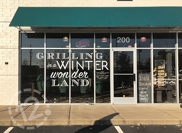 This window display was created using cut vinyl lettering and decals. 12-Point SignWorks - Franklin, TN