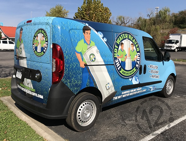 We designed this full-coverage custom vehicle wrap for The Water Heater Guys. 12-Point SignWorks - Franklin, TN