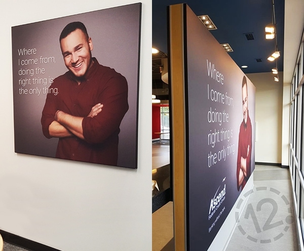 We installed these silicone edge graphics for Ascend Federal Credit Union. 12-Point SignWorks - Franklin, TN