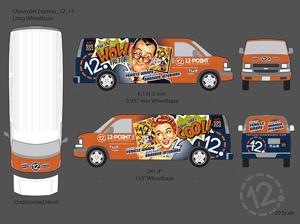 Proof of concept for new vehicle wrap on 12-Point Chevy van. 12-Point SignWorks - Franklin, TN