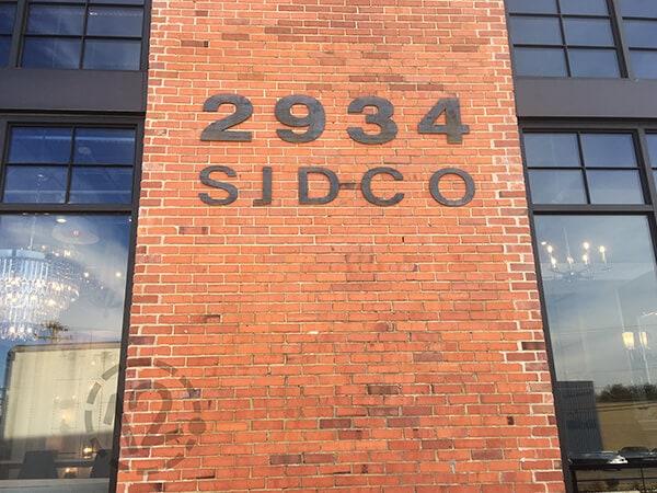 New corten steel address sign for the Oak Barrel building. 12-Point SignWorks - Franklin, TN