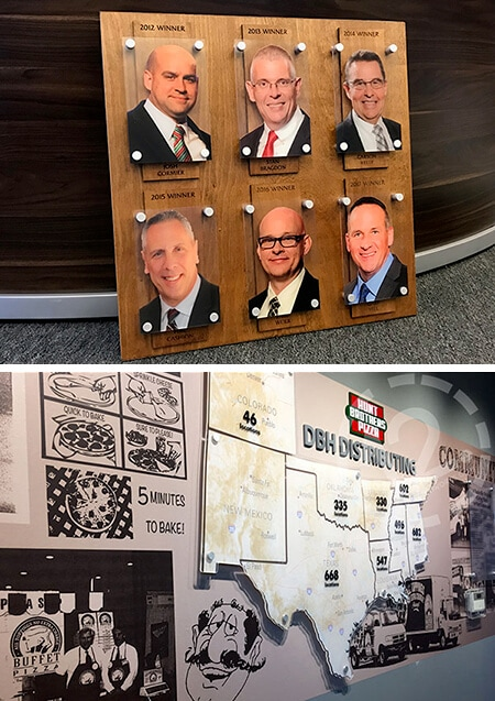 Digitally printed acrylic signs created for Hunt Brothers Pizza. 12-Point SignWorks - Franklin, TN