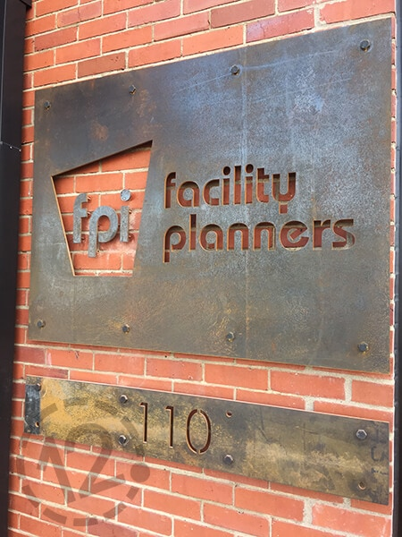 Facility Planners sign made with corten steel. 12-Point SignWorks - Franklin, TN