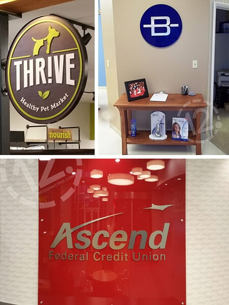 Signs created using custom-painted acrylic. 12-Point SignWorks - Franklin, TN