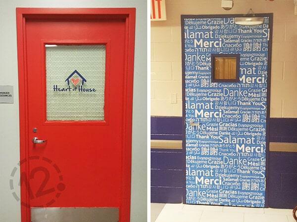 "Window decals and vinyl door wraps for Loews' ""Heart of House"". 12-Point SignWorks - Franklin, TN"