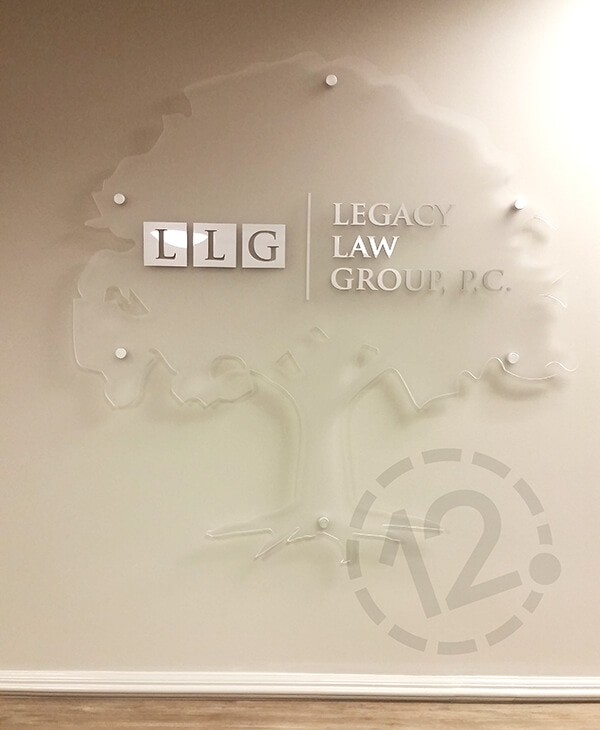 Dimensional Sign on Frosted Acrylic Panel by 12-Point SignWorks - Franklin, TN