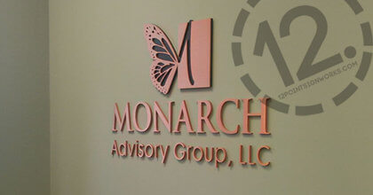 The brushed and oxidized copper logo sign for Monarch Advisory Group in Franklin TN. 12-Point SignWorks - Franklin TN