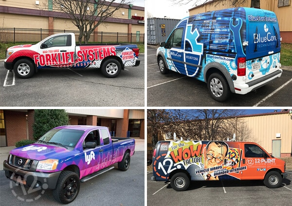 Vehicle Wraps Designed, Printed and Installed at 12-Point SignWorks in Franklin, TN.