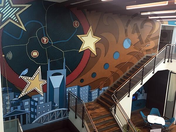 Wall mural for Deloitte in Nashville. 12-Point SignWorks - Franklin, TN