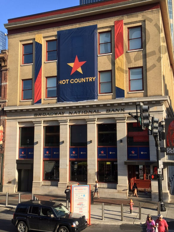 Spotify Hot Country playlist building banners at Ole Red in Nashville. 12-Point SignWorks - Franklin, TN