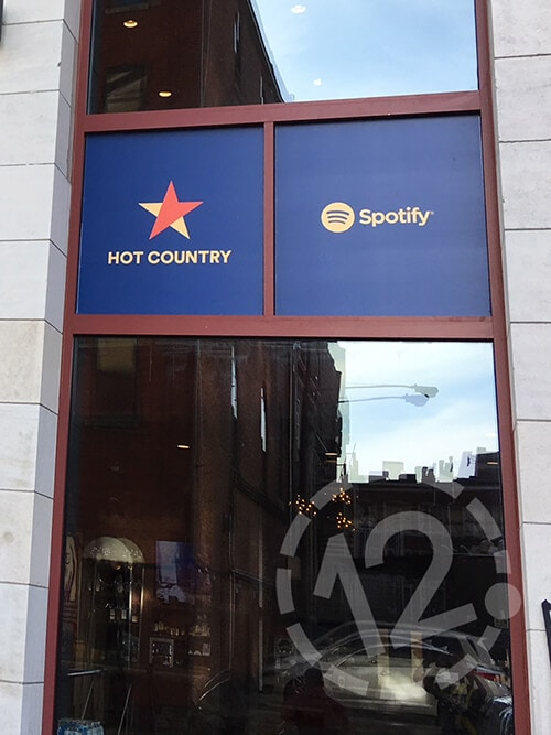 Vinyl window graphics for Spotify's Hot Country playlist at Ole Red in Nashville. 12-Point SignWorks - Franklin, TN