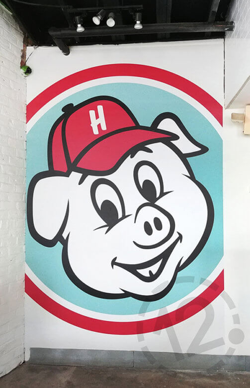 Wall mural for Hugh Baby's BBQ & Burger Shop. 12-Point SignWorks - Franklin, TN