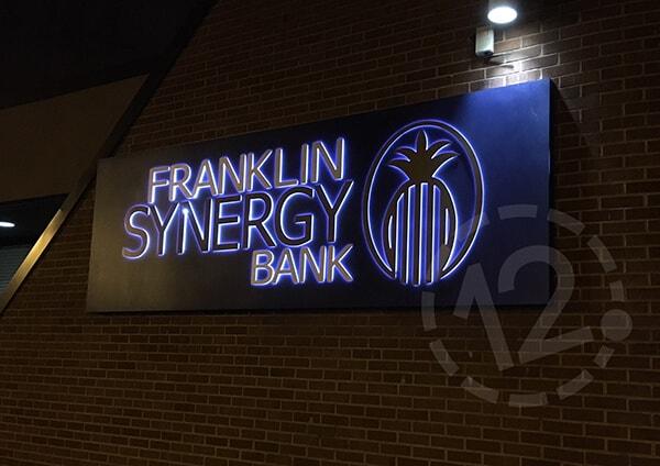 Franklin Synergy Bank Halo Lit Sign at Night. 12-Point SignWorks - Franklin, TN